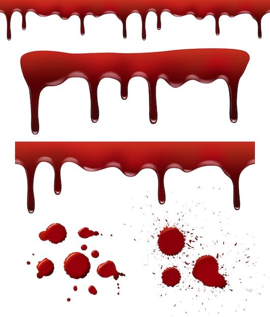 Le Sang éclabousse. Dribble Rouge Gouttes éléments Liquides éclaboussures De Taches De Sang Brosse Textures Modèle Réaliste Vecteur Premium