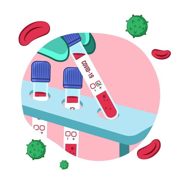 Sang Positif Dans Un Tube à Essai Pour Coronavirus Vecteur gratuit