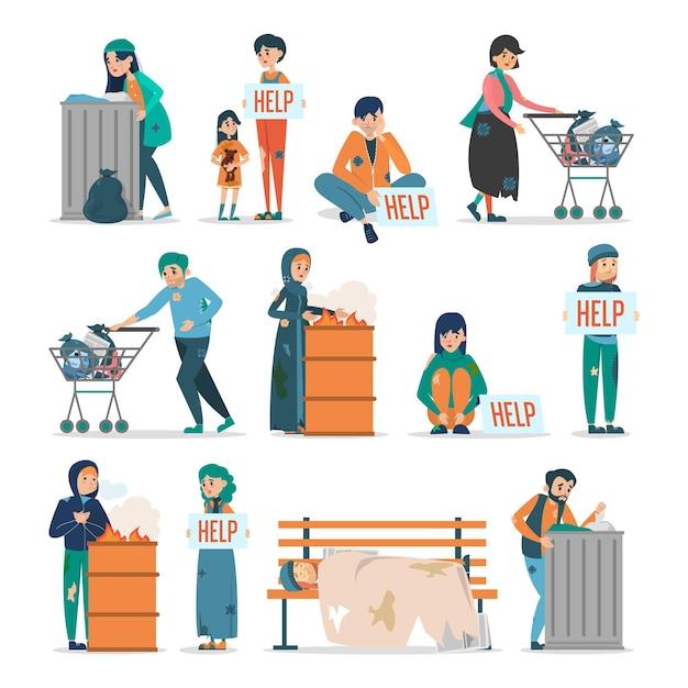 Les Sans-abri. Collection D'adultes En Vêtements Sales Vecteur Premium