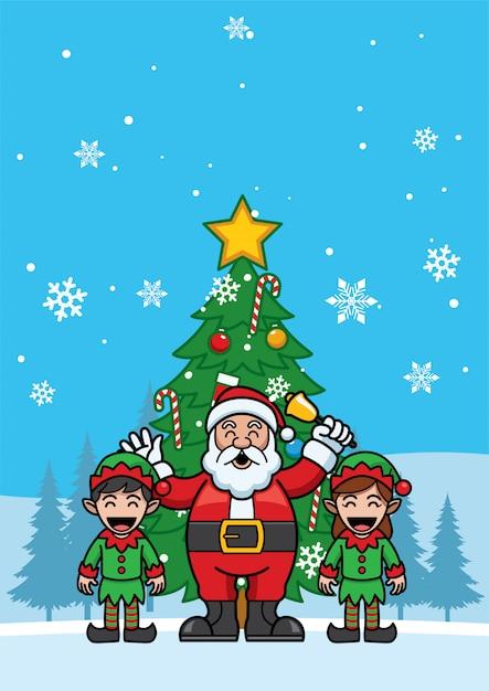 Santa aclaus et amis applaudir pour les fêtes Vecteur Premium