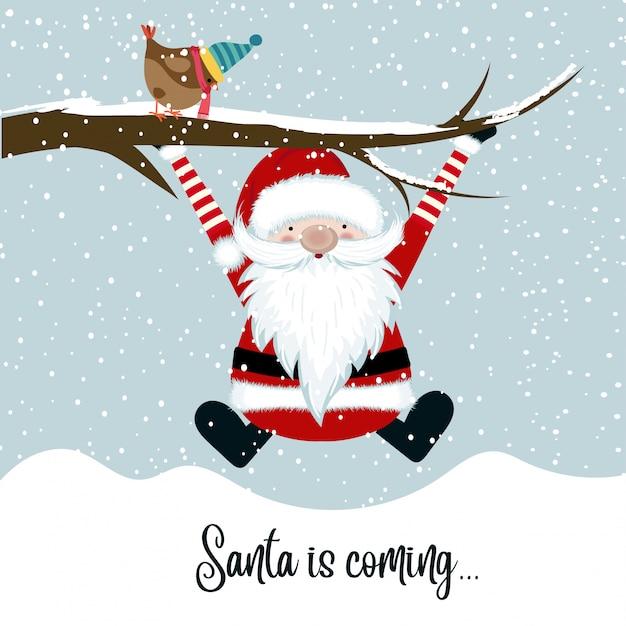 Santa arrive Vecteur Premium