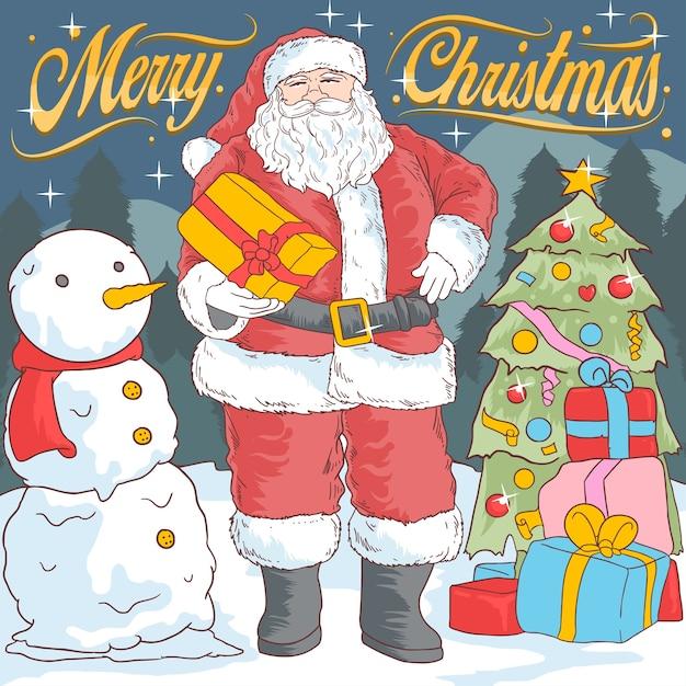 Santa et boule de neige Vecteur Premium