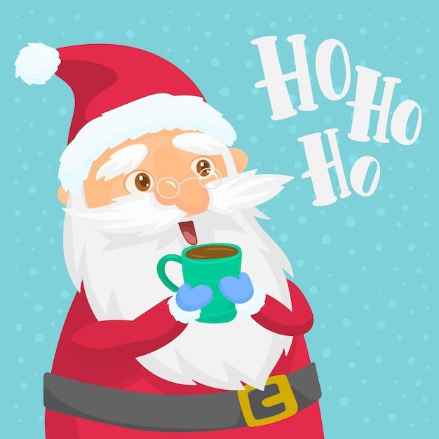 Santa Claus Appréciant Sa Collation Vecteur Premium