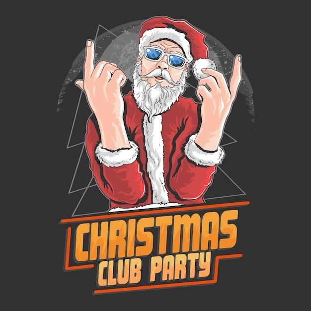 Santa claus christmas night club danse dj party artwork elément vecteur Vecteur Premium