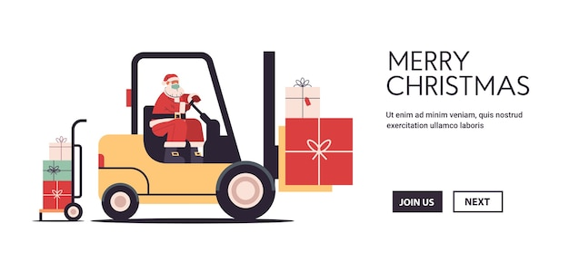 Santa Claus Conduisant Un Chariot élévateur Chargement Des Cadeaux Colorés Joyeux Noël Bonne Année Livraison Express Concept Illustration Vectorielle Espace Copie Horizontale Vecteur Premium