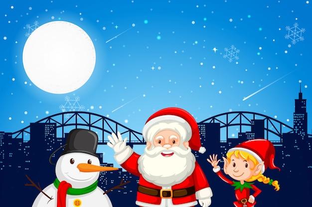 Santa elf et bonhomme de neige sur la ville backgroung Vecteur Premium