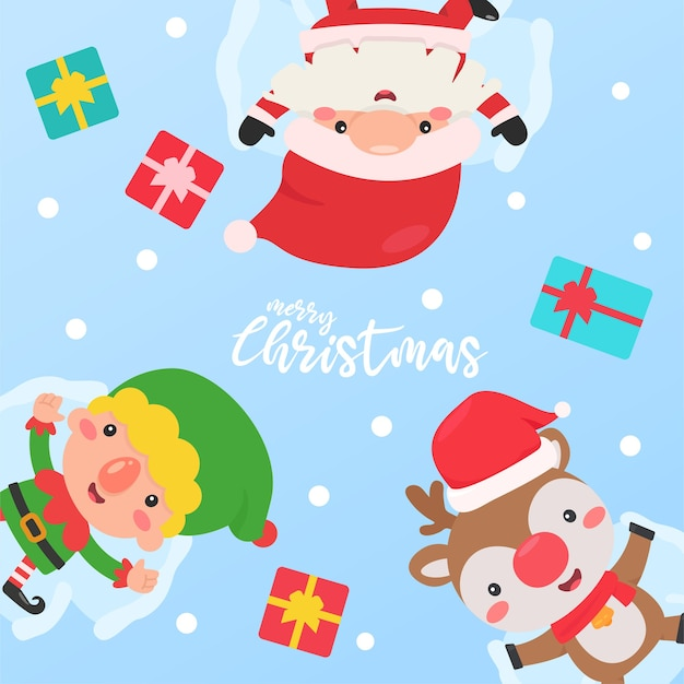Santa Elf Et Reindeer Dorment Dans La Neige Avec Un Coffret Cadeau Offert Aux Enfants Vecteur Premium