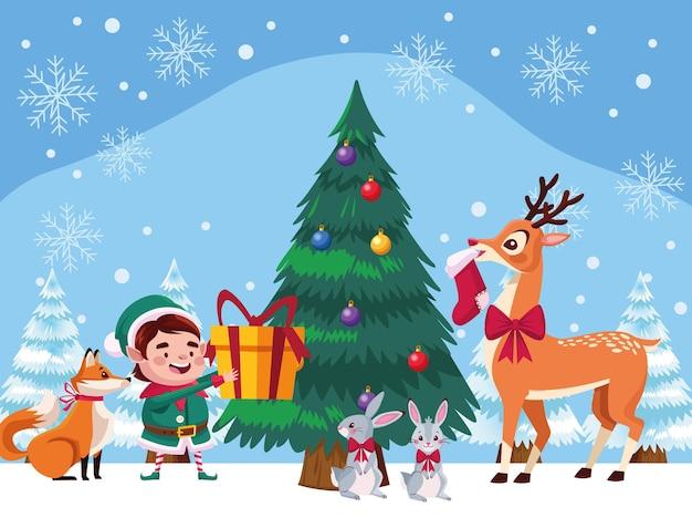 Santa Helper Avec Des Animaux Et Illustration De Sapin De Noël Vecteur Premium