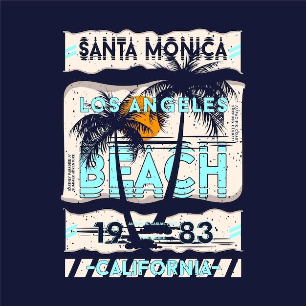 Santa Monica, Los Angeles Beach Lettrage Sur T-shirt Graphique Thème Plage Vecteur Premium