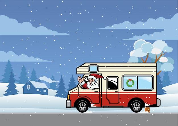 Santa riding truck rv pour les vacances Vecteur Premium