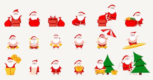 Santa Set Collection De Noël Vecteur Premium