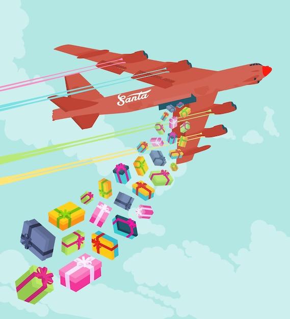 Santas bombardier laissant tomber les cadeaux Vecteur Premium