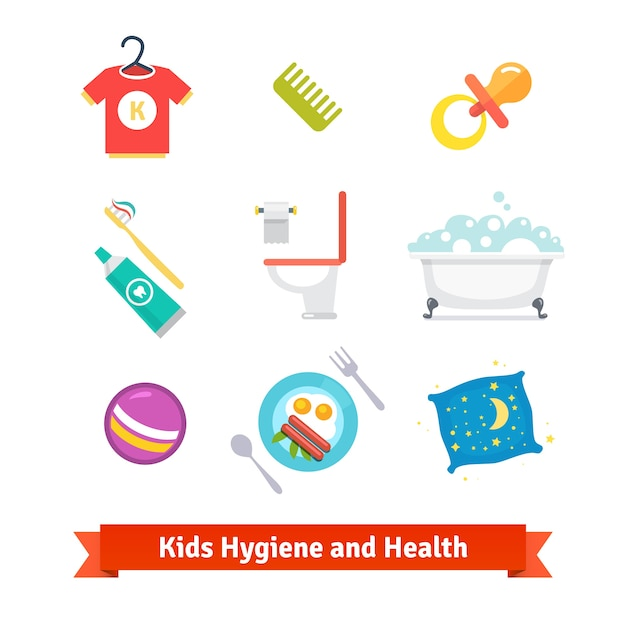 Santé et hygiène des enfants Vecteur gratuit