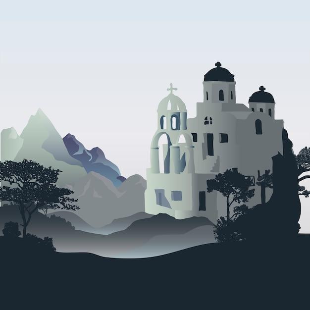 Santorini cycladic houses design design vectoriel Vecteur gratuit