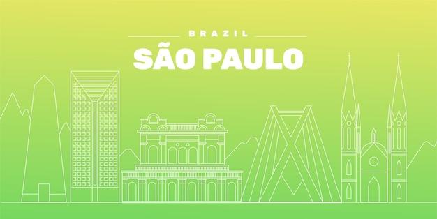 Sao Paulo Skyline Dégradé Vert Vecteur gratuit