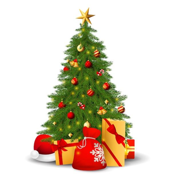 Sapin Avec Décorations, Cadeaux Et Bonnet De Noel Vecteur gratuit