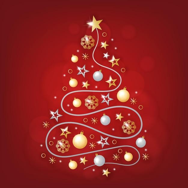 Sapin De Noël En Décoration Dorée Réaliste Vecteur gratuit