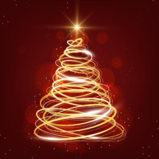 Sapin De Noël Light Trail Vecteur Premium