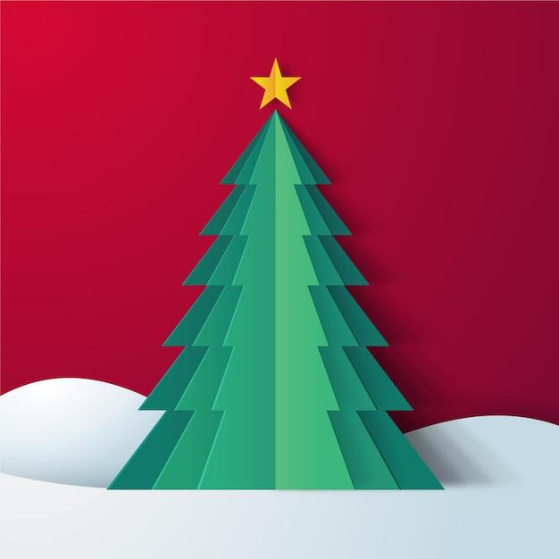 Sapin De Noël En Papier Vecteur gratuit