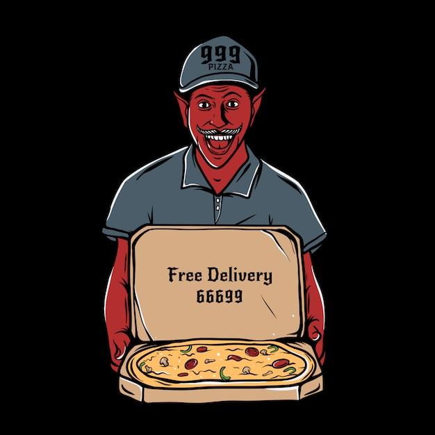 Satan Tenant Une Boîte En Carton Ouverte Avec Une Pizza Au Pepperoni à L'intérieur De L'illustration Vecteur Premium