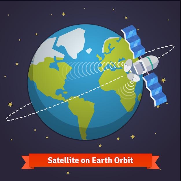 Satellite De Télécommunication Sur La Terre Vecteur gratuit