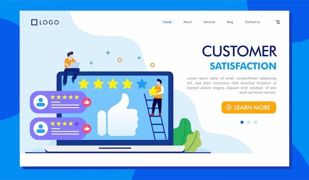 Satisfaction client illustration du site web de la page de destination Vecteur Premium