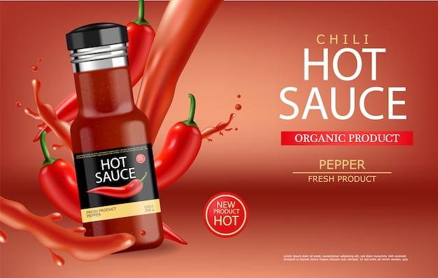 Sauce chili chaude avec splash Vecteur Premium