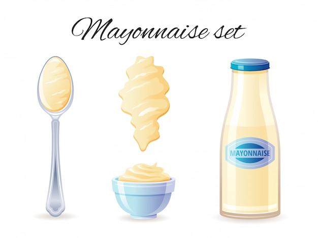 Sauce Mayonnaise Cion Sertie Avec Bouteille De Sauce Mayo, Bol, Cuillère, Splash. Vecteur Premium
