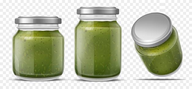 Sauce pesto dans des bocaux en verre set vector réaliste Vecteur gratuit