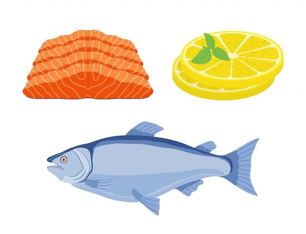 Saumon, tranches de citron - repas gastronomique Vecteur Premium