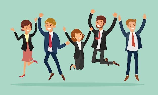 Saut d'affaires célébrant le dessin animé de succès Vecteur Premium