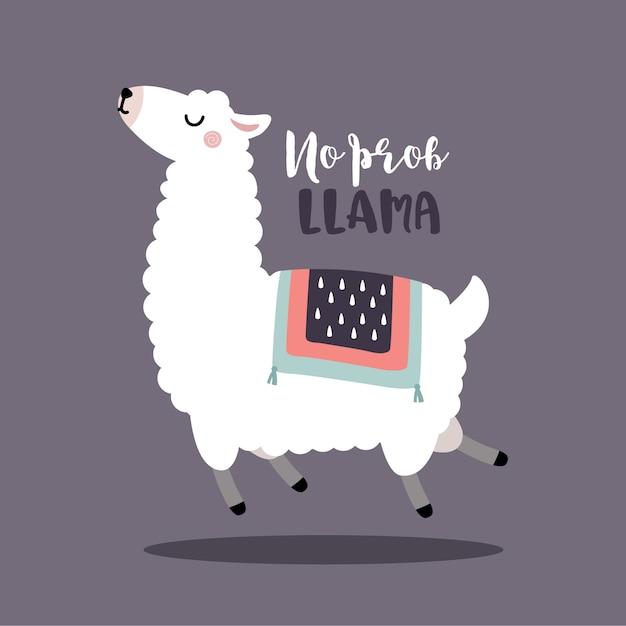 Sauter L'alpaga Ou Le Lama Sans Citation De Motivation Pour Le Lama Vecteur Premium