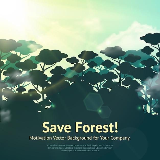Sauvegarder l'illustration de la forêt Vecteur gratuit