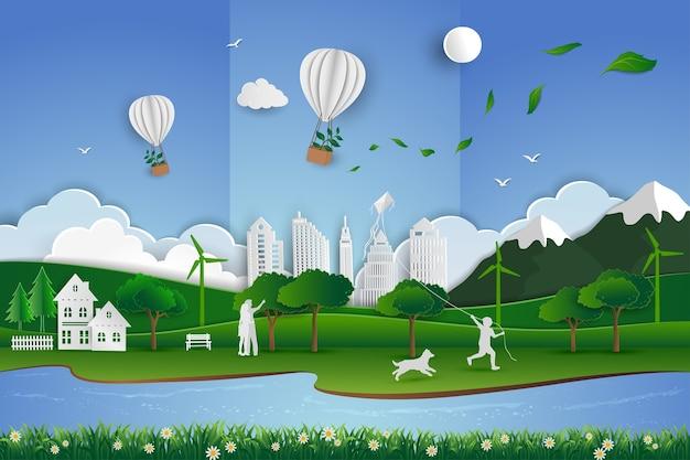 Sauver le concept de conservation de l'environnement Vecteur Premium