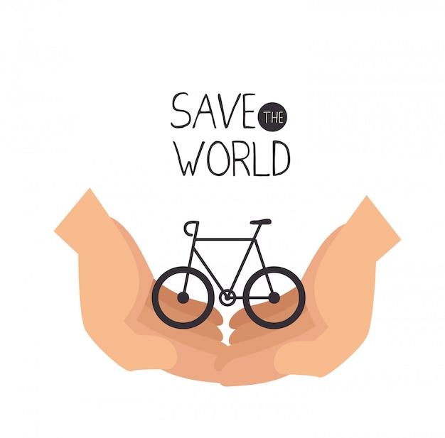 Sauver Le Design Du Monde Dans Un Style Plat Vecteur gratuit