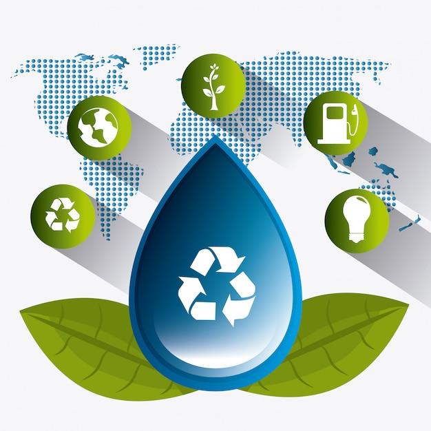 Sauver l'écologie de l'eau Vecteur gratuit