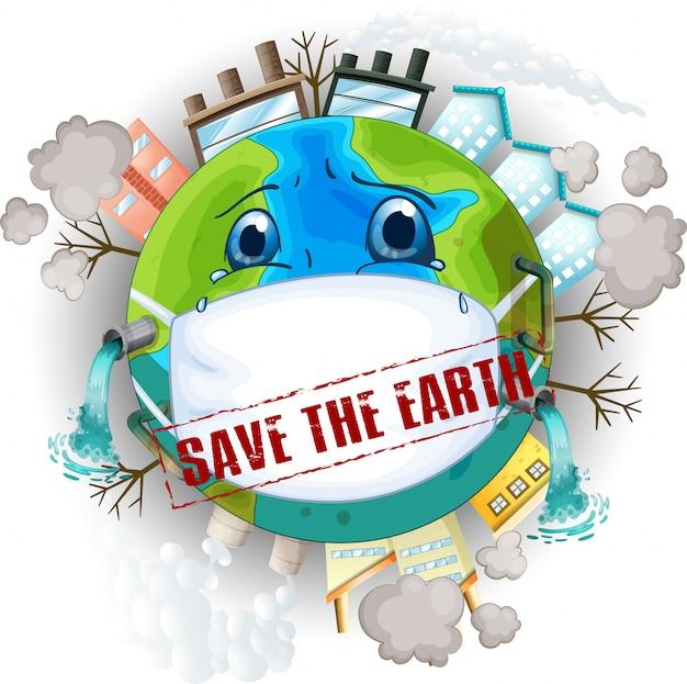 Sauver l'illustration de la terre Vecteur gratuit