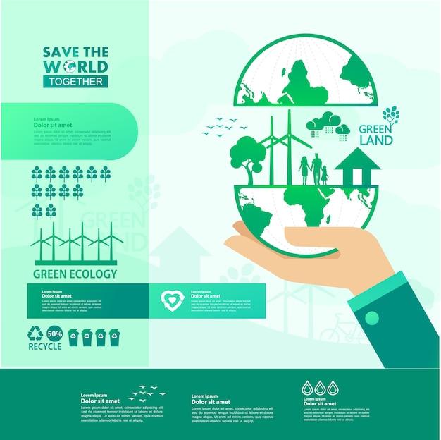 Sauver Le Monde Ensemble écologie Verte. Vecteur Premium