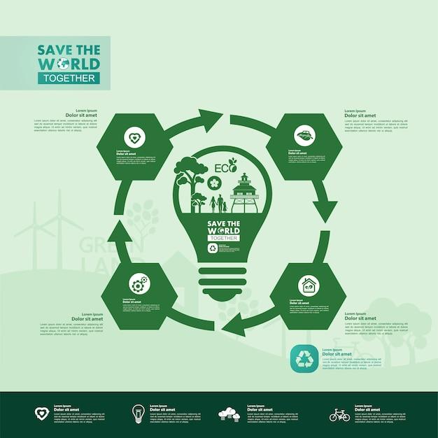 Sauver Le Monde Ensemble Infographie écologie Verte Vecteur Premium