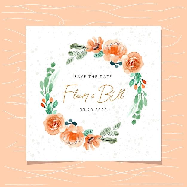 Sauvez la carte de date avec la couronne florale orange aquarelle Vecteur Premium