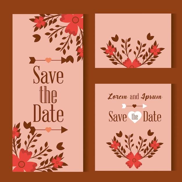 Sauvez la carte de date ornée de fleurs feuilles sur fond rose Vecteur gratuit