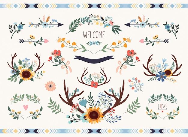 Sauvez la collection florale de date. éléments de mariage rustique sertie de tournesol et de bois. Vecteur Premium