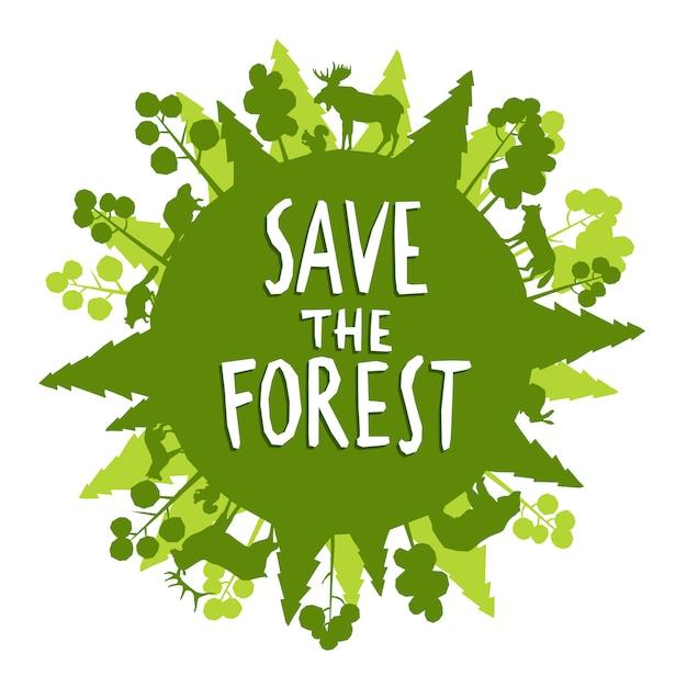 Sauvez le concept de forêt Vecteur gratuit
