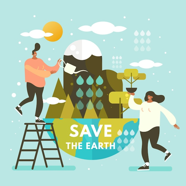 Sauvez Le Concept De La Planète Avec Des Gens Arrosant La Terre Vecteur gratuit