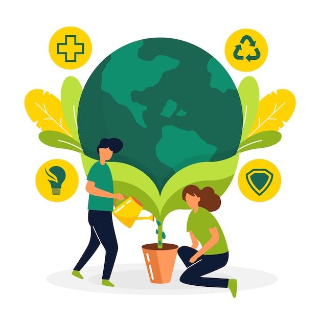 Sauvez Le Concept De Planète Avec Des Gens Qui Cultivent La Terre Vecteur gratuit