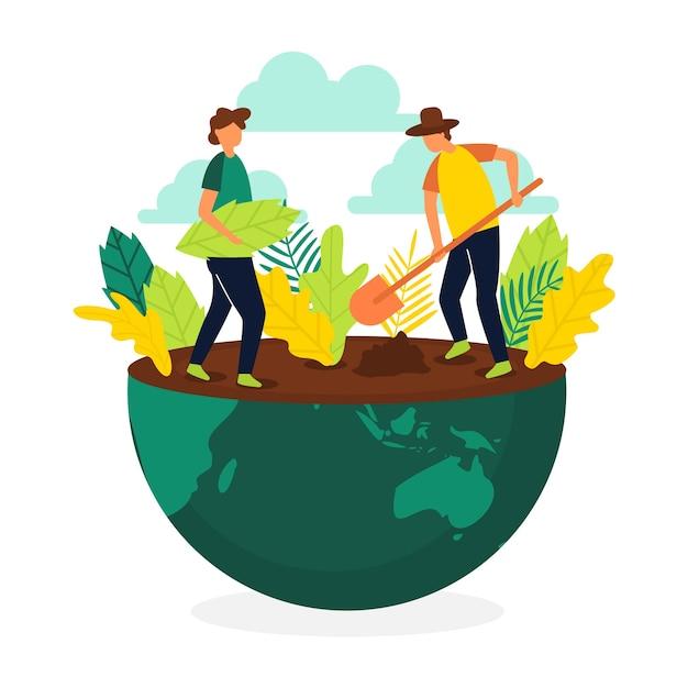 Sauvez Le Concept De La Planète Avec Des Gens Qui Plantent De La Végétation Vecteur gratuit