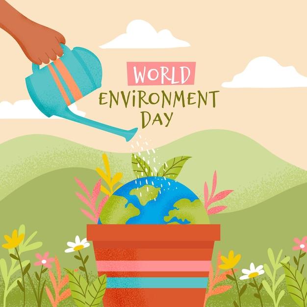 Sauvez Le Concept De La Planète Avec Une Personne Arrosant La Terre Vecteur gratuit