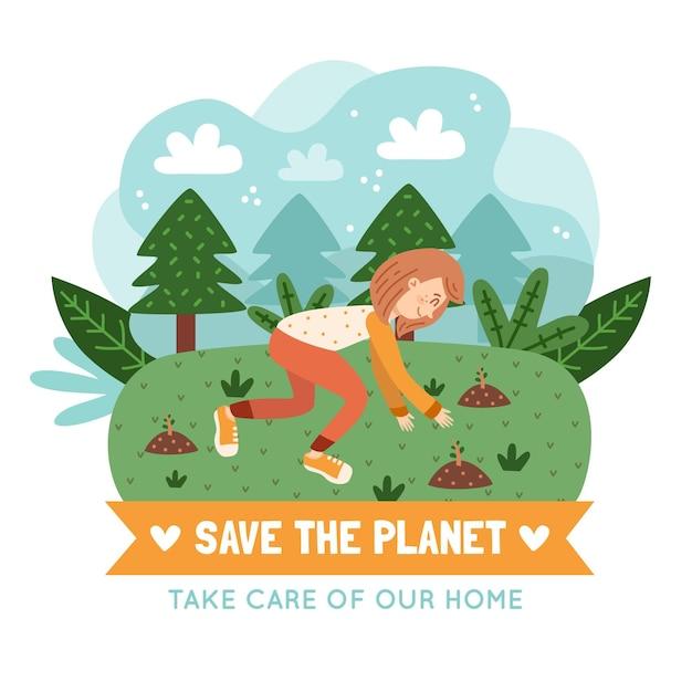 Sauvez Le Concept De La Planète Avec Une Personne Qui Plante Des Arbres Vecteur gratuit