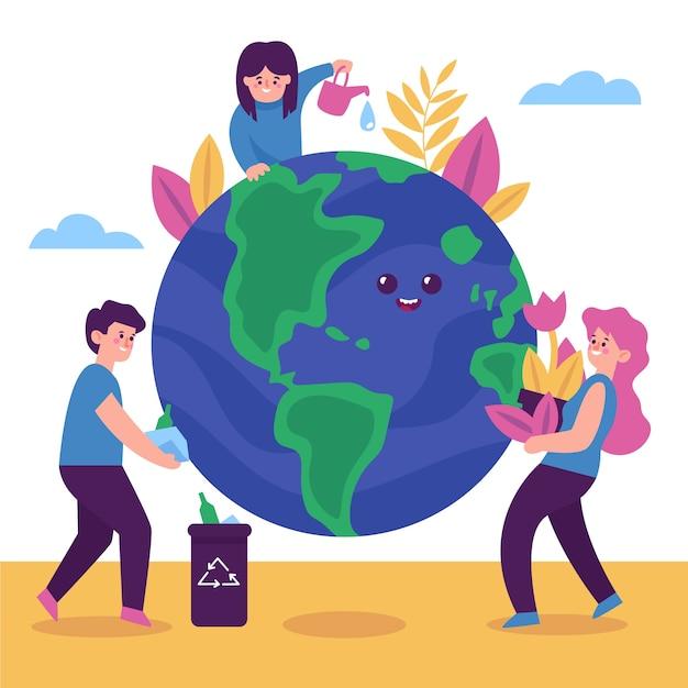 Sauvez Le Concept De Planète Avec Des Personnes Illustrées Vecteur gratuit
