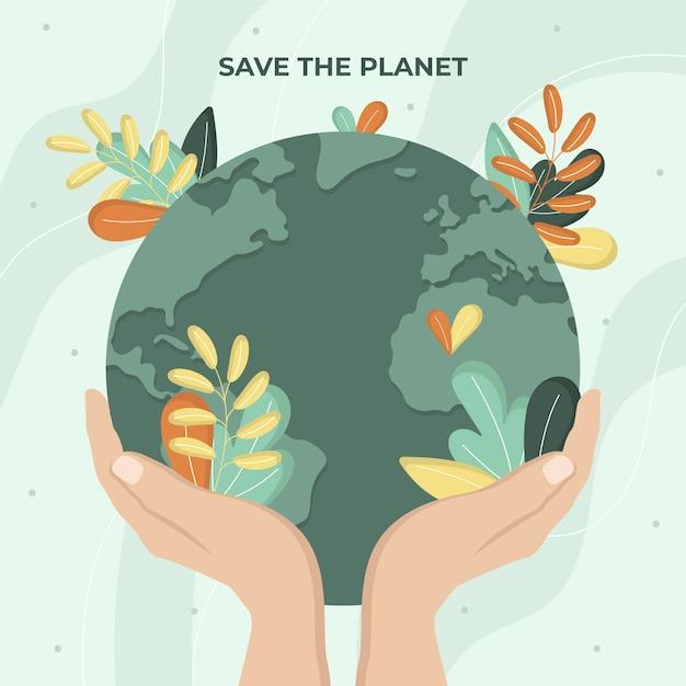 Sauvez Le Concept De Planète Avec De La Végétation Vecteur gratuit
